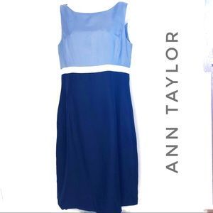 Ann Taylor Blue Color Block Silk Sleeveless Dress